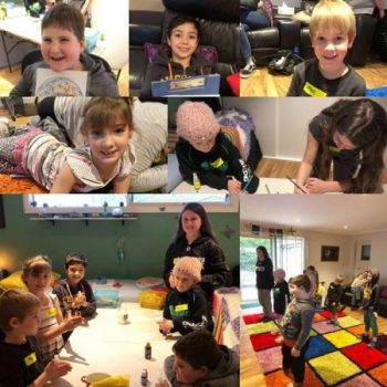 Various pictures of kids enjoying the school holiday workshops